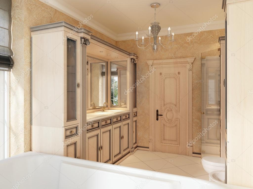 Salle de bain de style classique avec grande fenêtre et salle de ...