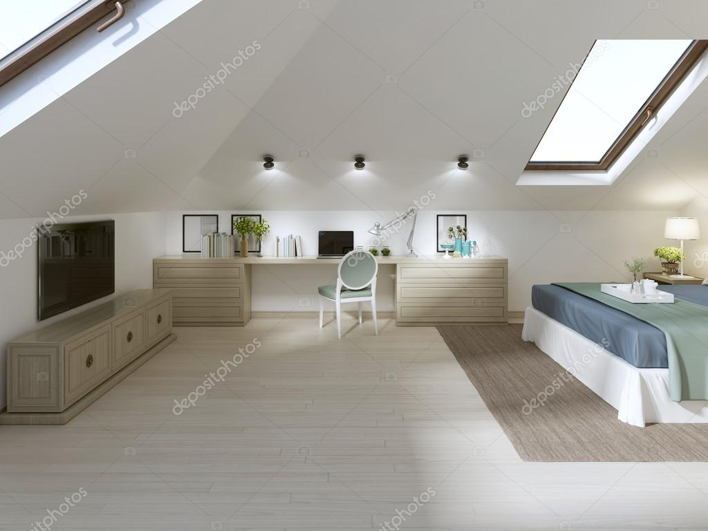 Enorme camera da letto sul soppalco in stile moderno — Foto Stock ...