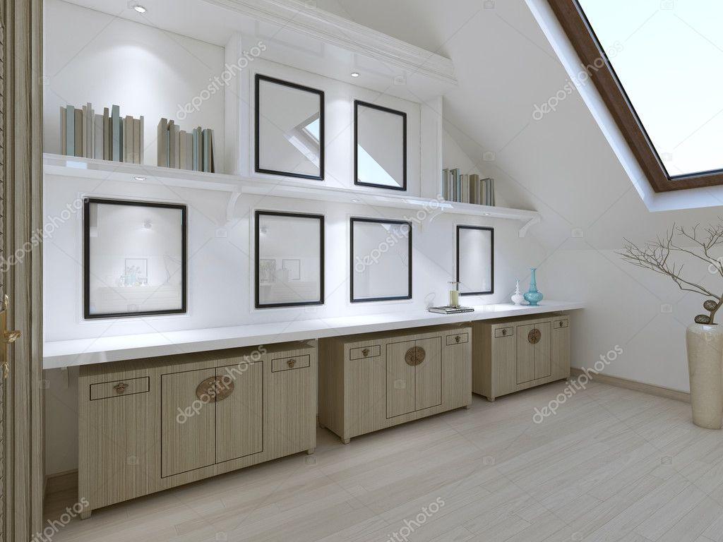 Drie lades en opbergruimte met boeken in de slaapkamer in een modern ...