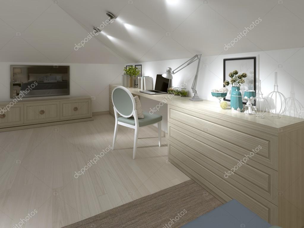 Grote werk bureau met stoel in de slaapkamer — Stockfoto © kuprin33 ...