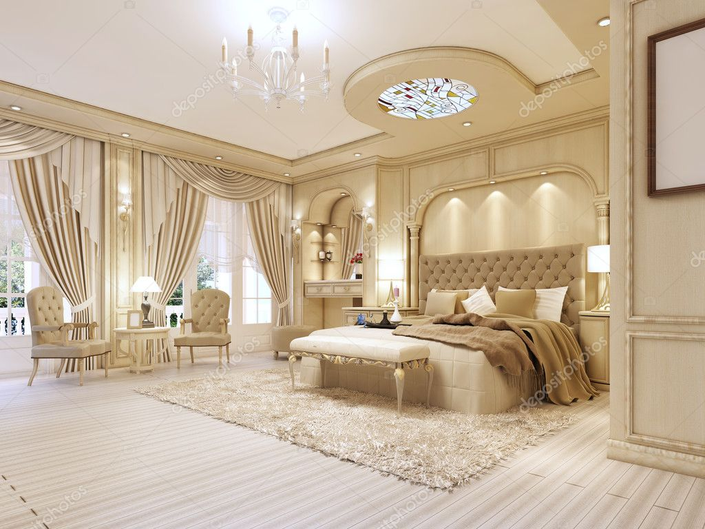 Luxurious Bedroom In Pastel Colours In A Neoclassical Style. U2014 Stock Photo