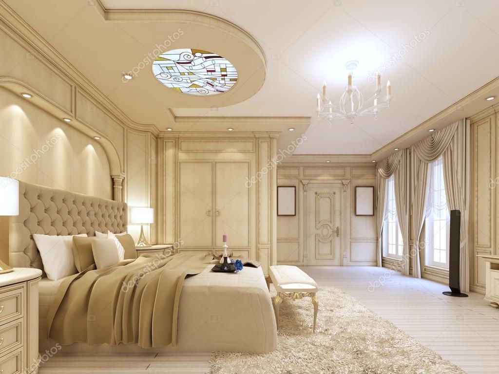Camera da letto lussuosa in colori pastello in stile neoclassico ...