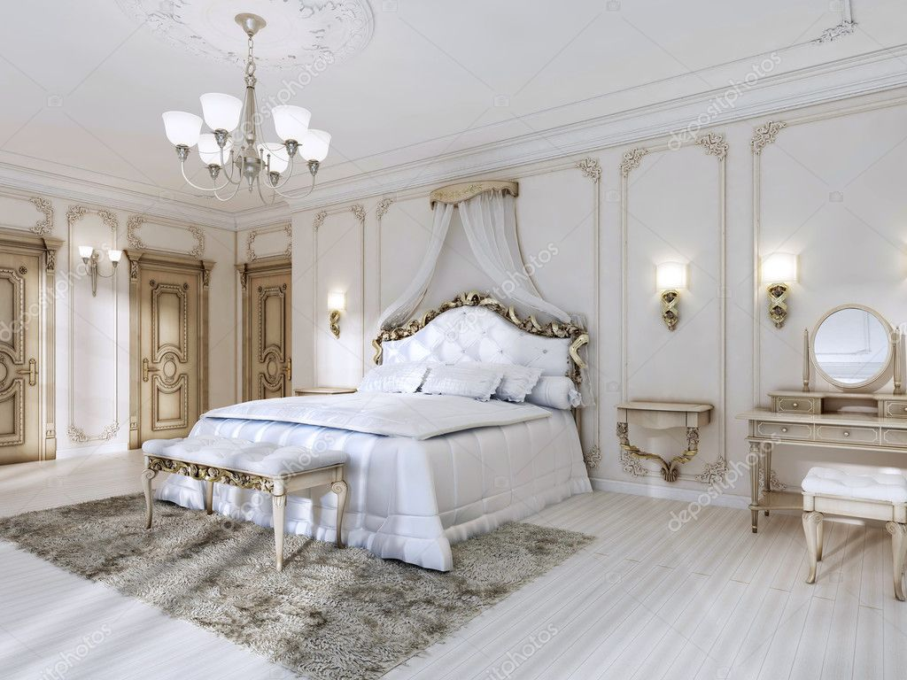 Luxurious bedroom in white colors in a classic style