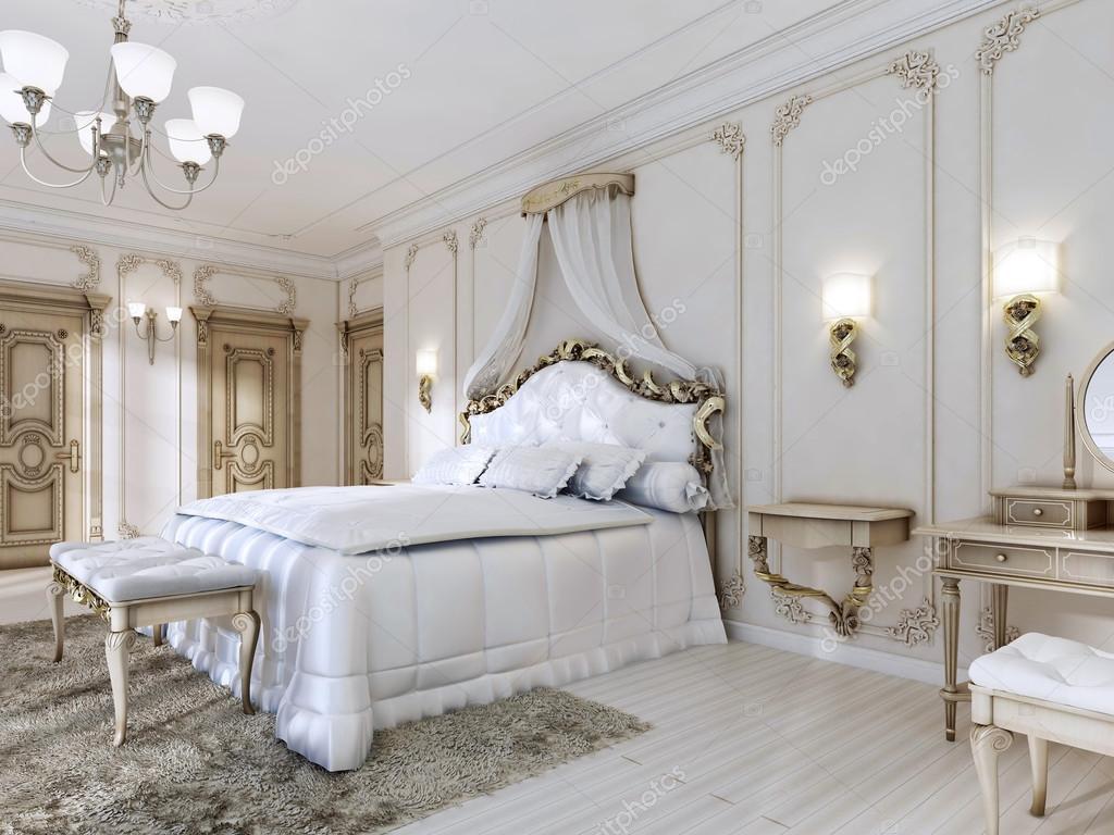 Luxuriöses Schlafzimmer In Weißen Farben Im Klassischen Stil U2014 Stockfoto