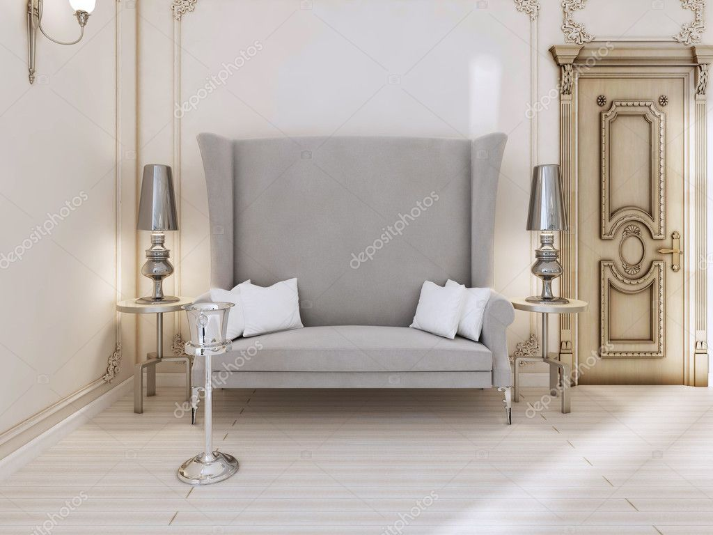 A Classic Designer Sofa With A High Back In The Bedroom. Two Side Table  With Lamps And A Bucket For Champagne. 3D Render. U2014 Photo By Kuprin33