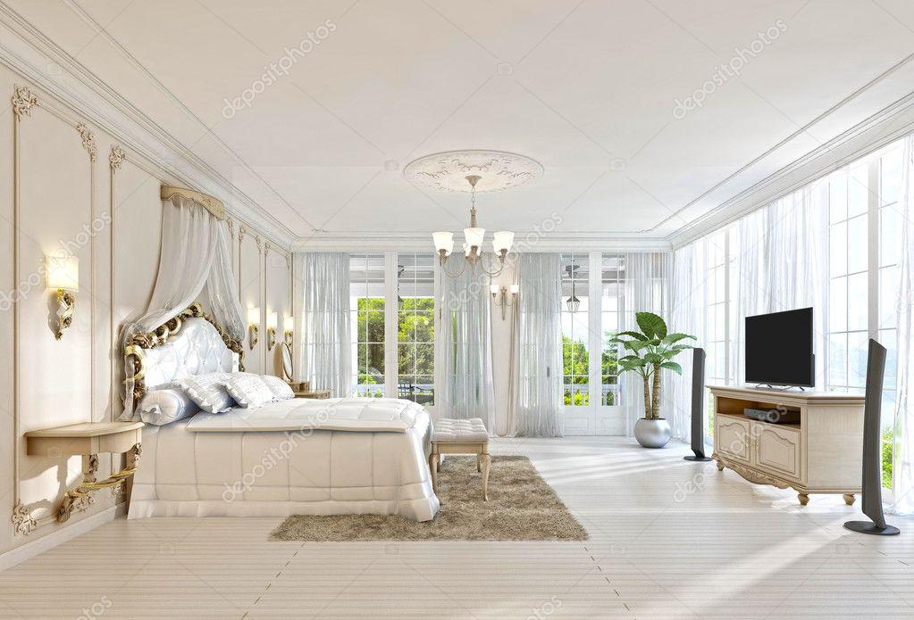 Grote slaapkamer met panoramische ramen en prachtig uitzicht ...