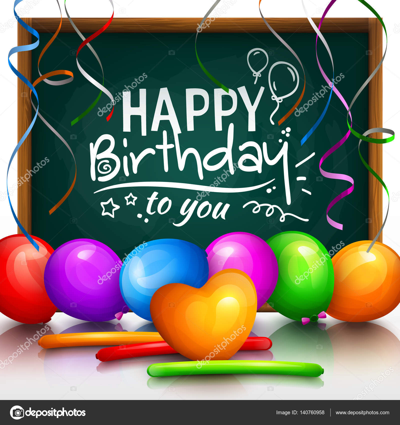 Happy Birthday Greeting Card Party Multicolored Balloons Colorful Streamers And Stylish Lettering On Chalkboard