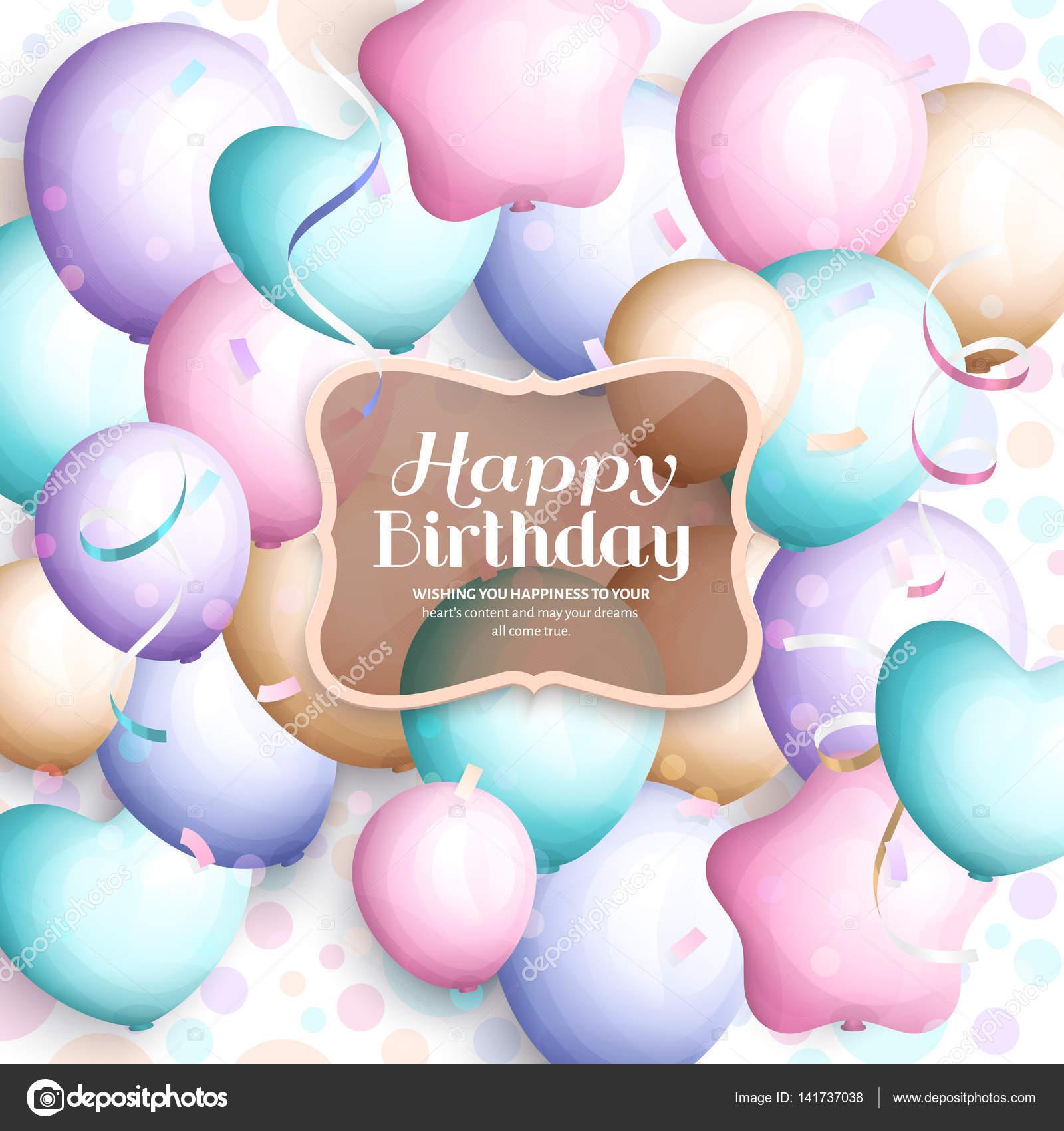 Alles Gute zum Geburtstag Grußkarte. Retro Vintage Pastell Party ...