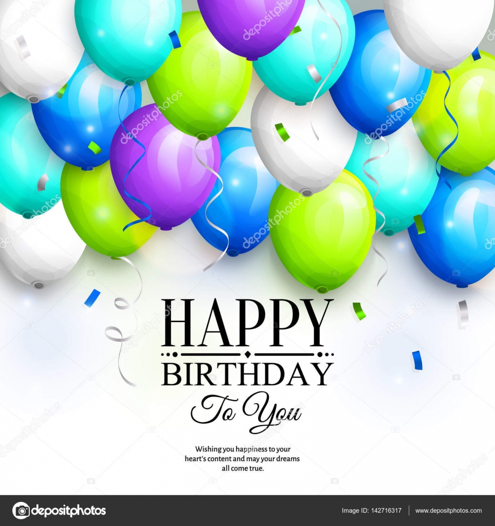 Happy Birthday Greeting Card Party Colorful Balloons Streamers Confetti And Stylish Lettering
