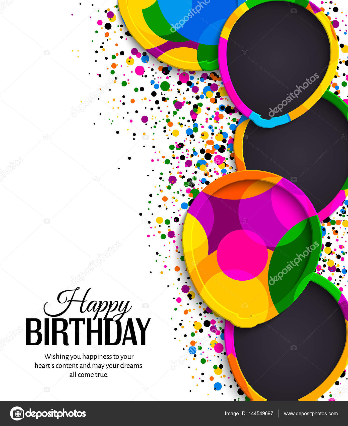 Happy birthday greeting card Paper balloons with colorful borders