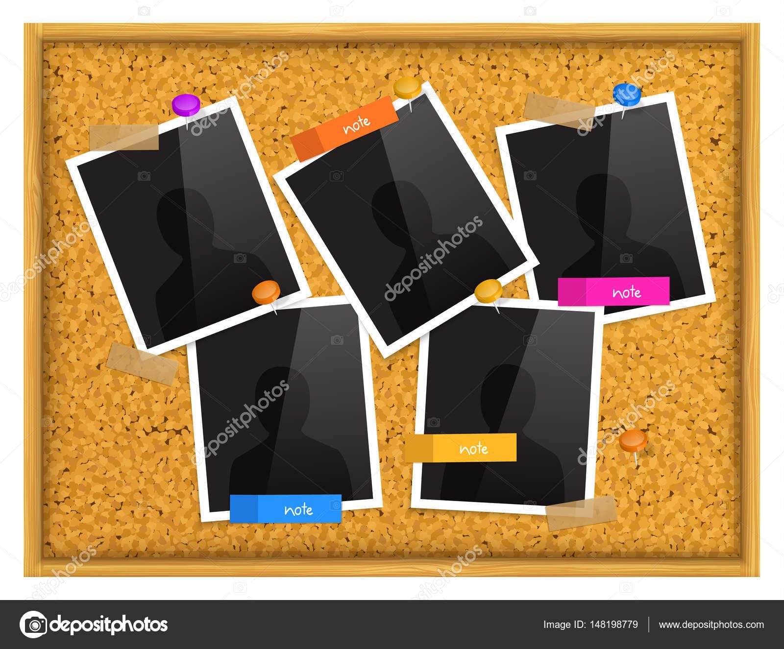 Tablón de corcho con marcos de fotos, notas adhesivas, clavijas de ...