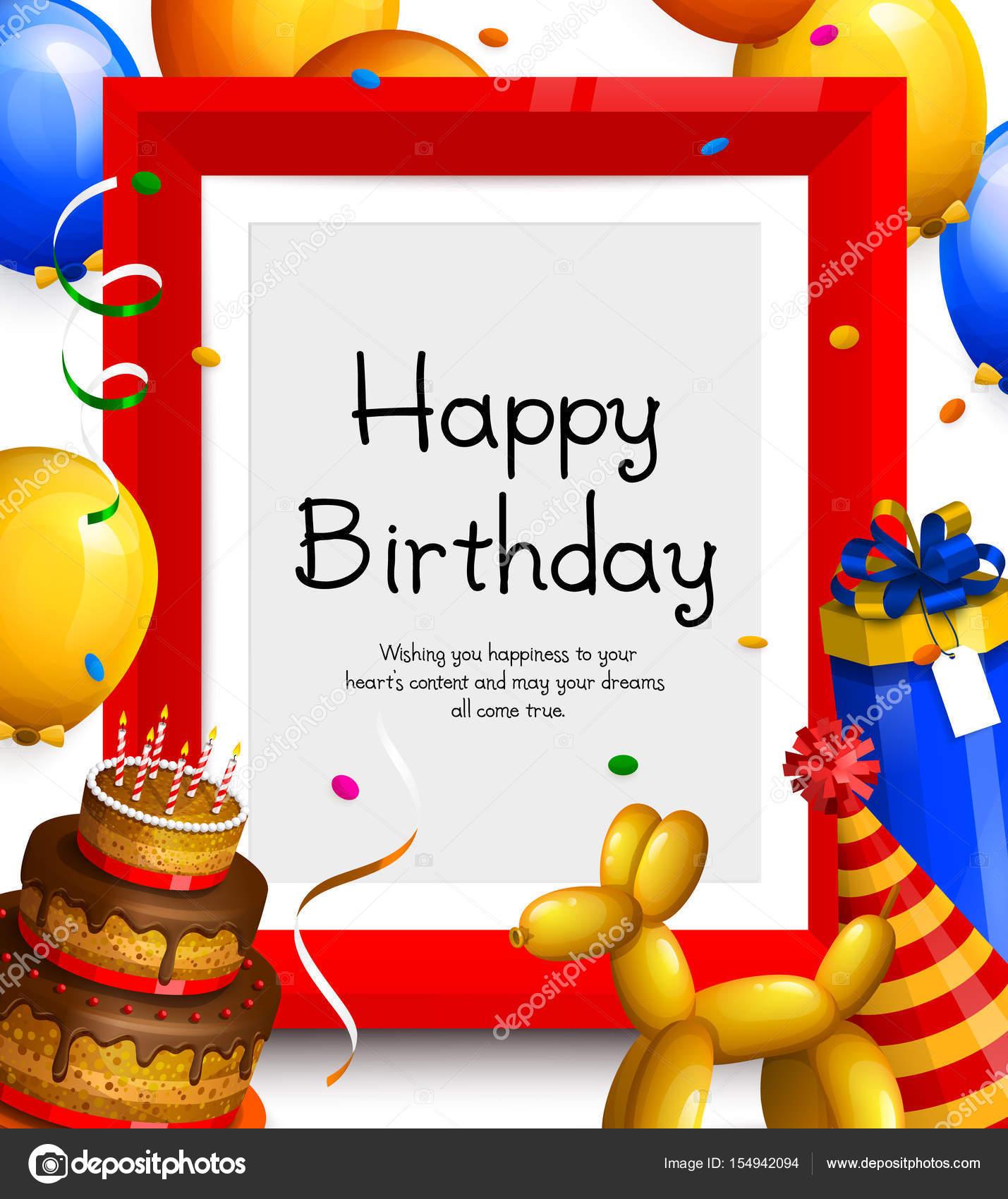 Tarjeta de felicitación del feliz cumpleaños. Marco de globos fiesta ...