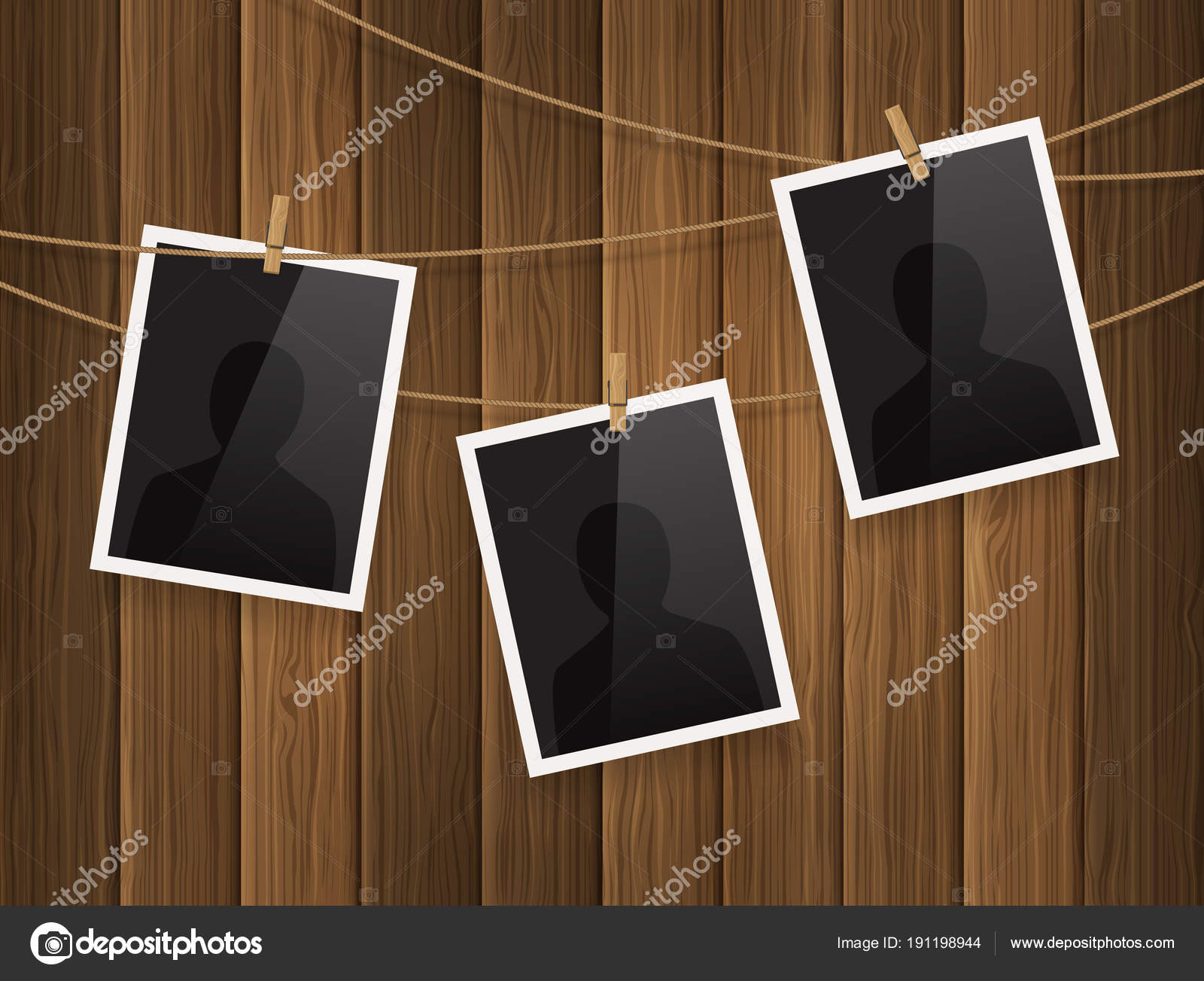 Bilderrahmen mit Wäscheklammern auf Holz Hintergrund am Seil ...