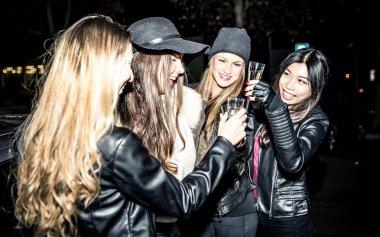 Girls making party at night