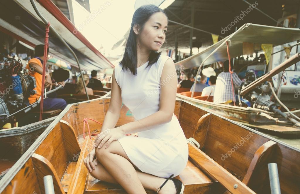 Thai woman at floating market