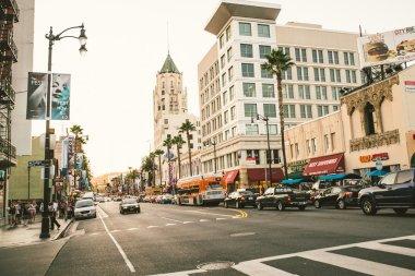 Hollywood boulevard at sunset