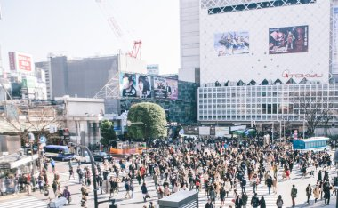 Shibuya cross with pedestrians