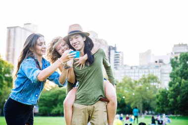 Cheerful friends in Central Park