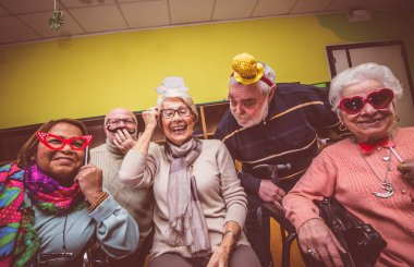 Old people celebrating in the hospice