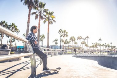 Skateboarder in action outdoors