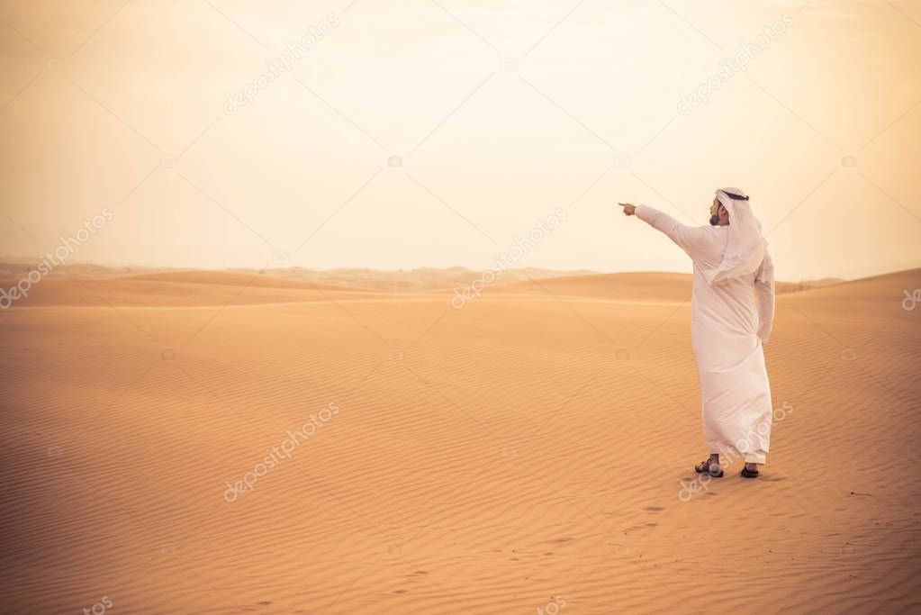 Arabian man in desert