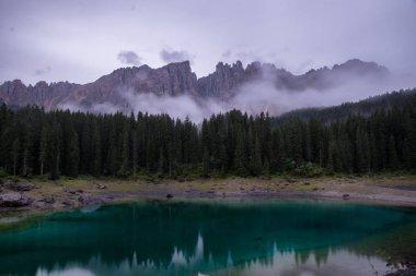 Lake Carezza, Italian Alps, South Tyrol, Dolomites, Italy stock vector