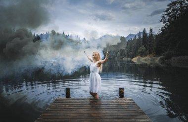"""Картина, постер, плакат, фотообои """"художественный портрет с женщиной, использующей дымовые шашки в красивой на """", артикул 168604810"""