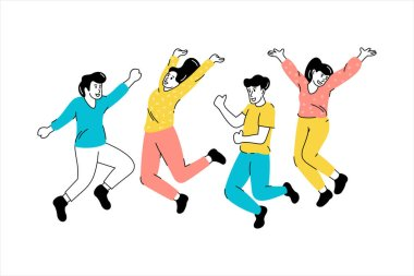 Young people jumping drawing illustrarion icon