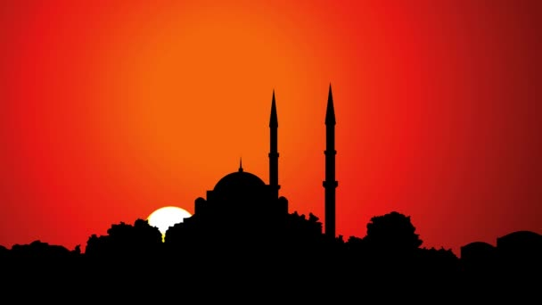 Timelapse The sun sets in Istanbul behind the mosque silhouette, golden