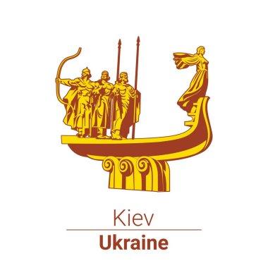 """Картина, постер, плакат, фотообои """"векторный символ. памятник основателям киева. украина """", артикул 131550106"""