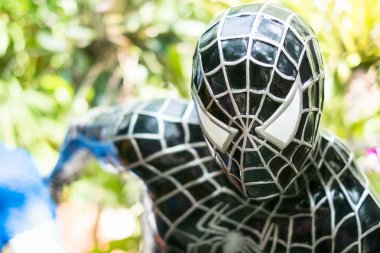 Close up Model of Spiderman in The Garden