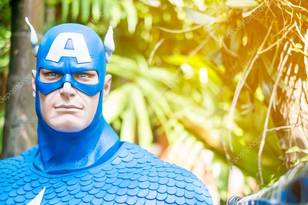 Captain America Face Paint Ideas Captain America Model In The Garden Stock Editorial Photo C Sirichaideposit 128288018