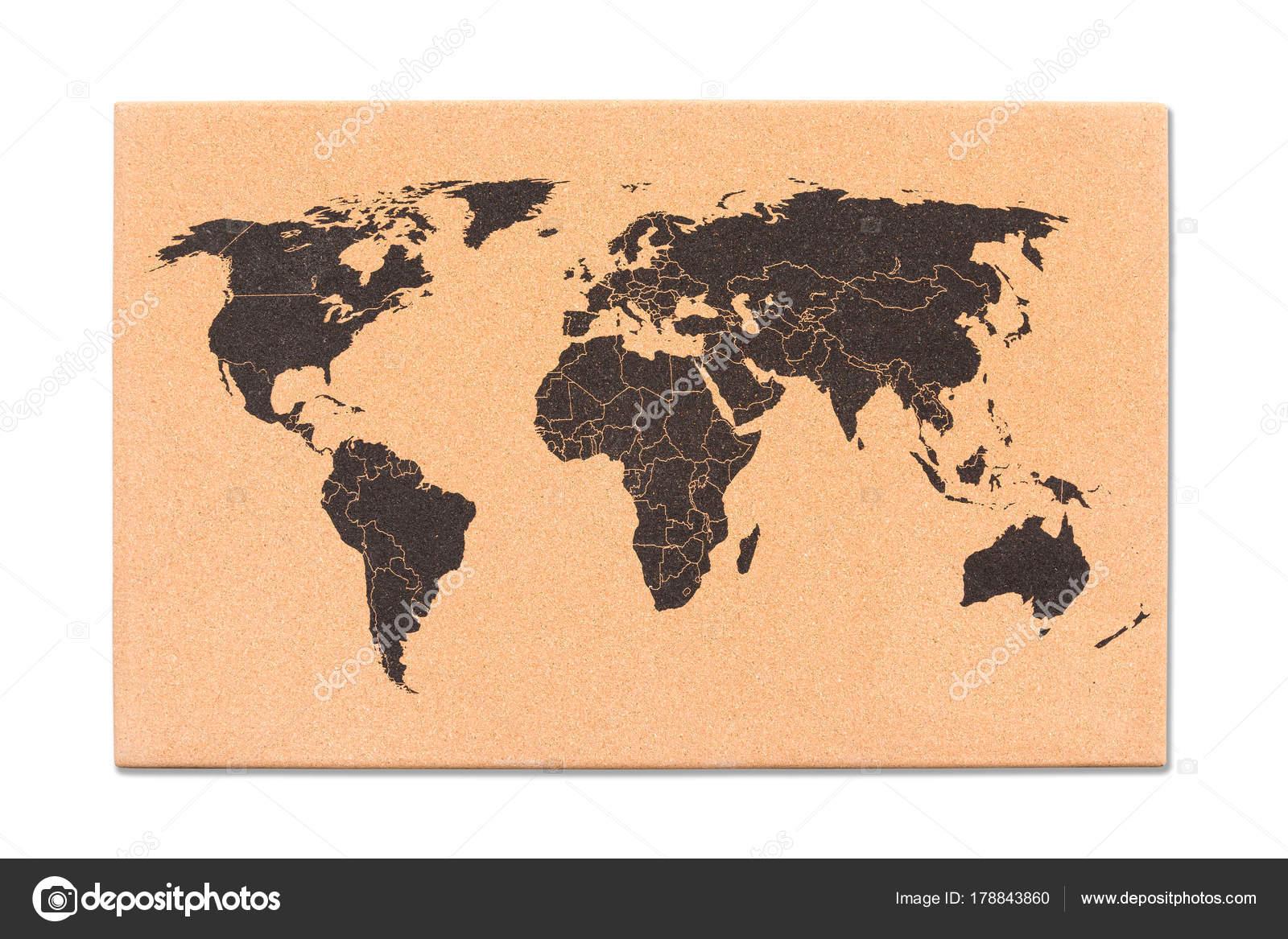 Weltkarte Auf Kork Tisch Struktur Stockfoto