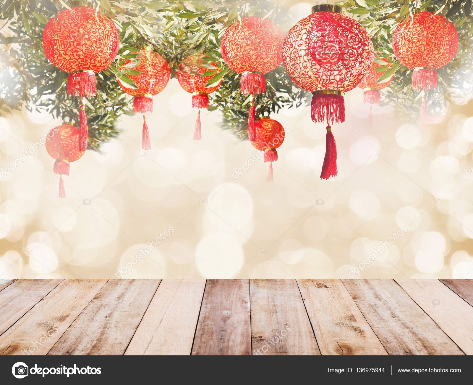 chinese lantern and wooden table for chinese new year background stock photo