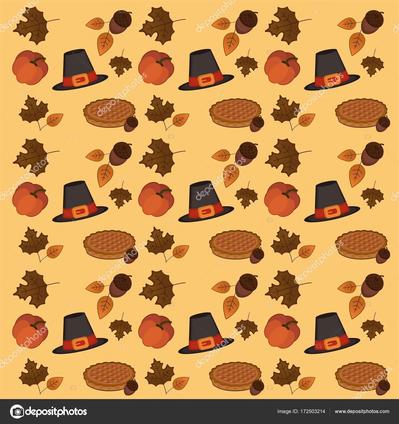 Thanksgiving Day Pattern Wallpaper Stock Vector C Paxu