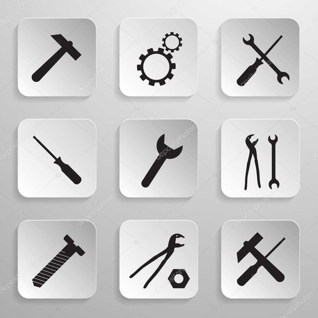 Vector Illustration Hammer: Tools Icons Set. Vector Hammer, Cog, Gear, Wrench