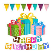Happy Birthday. Gift Boxes with Flags Isolated on White Background. Vector Illustration.
