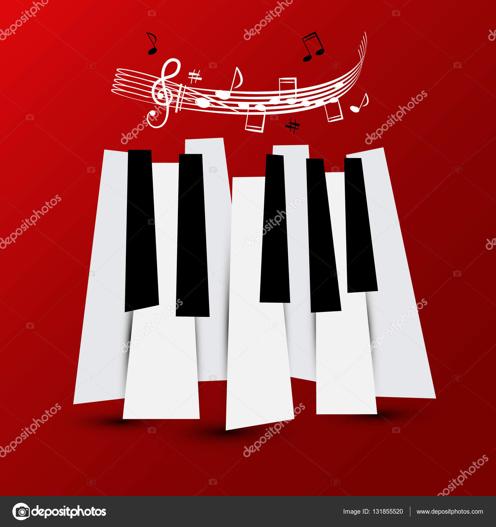 Music Symbol Vector Piano Keys With Staff And Notes Keyboard On
