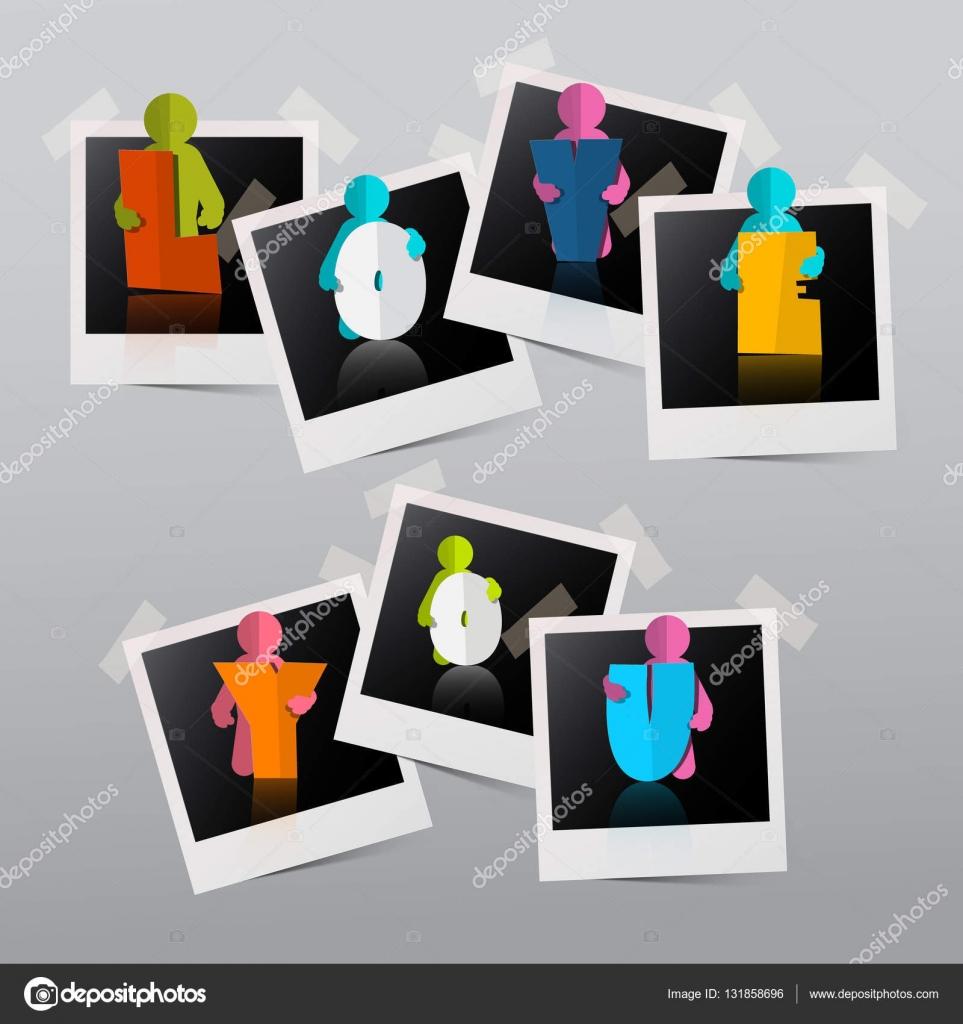 Te quiero. Vector papel corta gente en marcos de fotos — Archivo ...