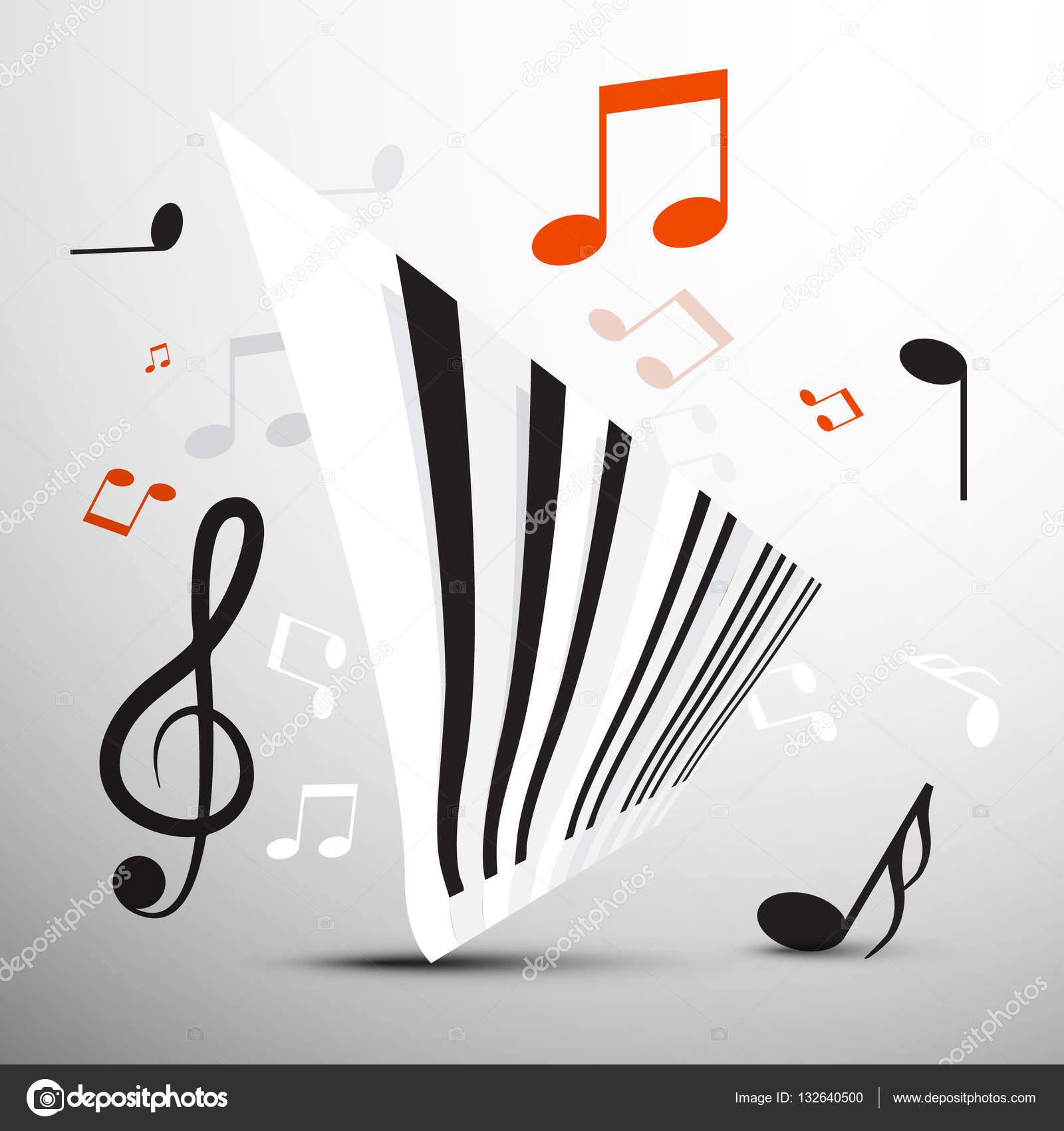 Teclado Piano Abstracto Con Notas Vector Símbolo De Música