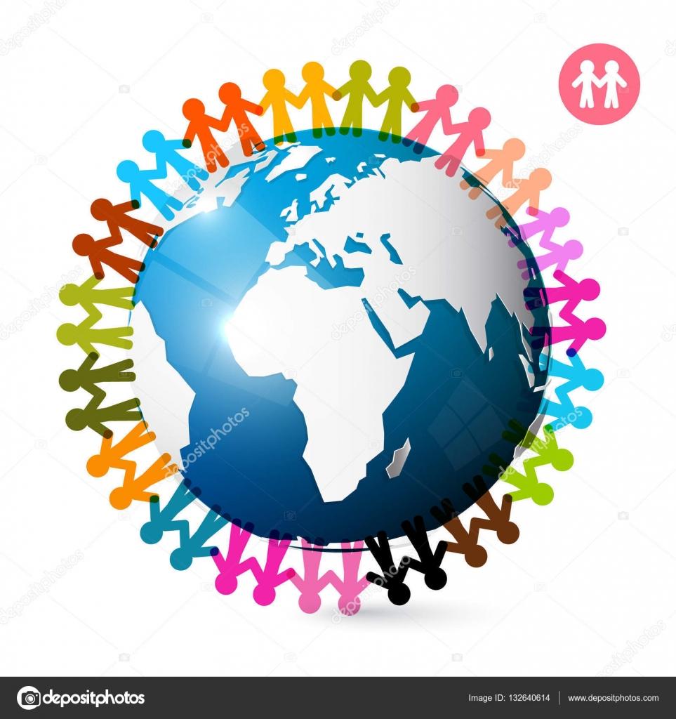 Vector Hand Unity Symbol People Around Globe Men Holding Hands On Earth Vector Unity Symbol Stock Vector C Mejn 132640614