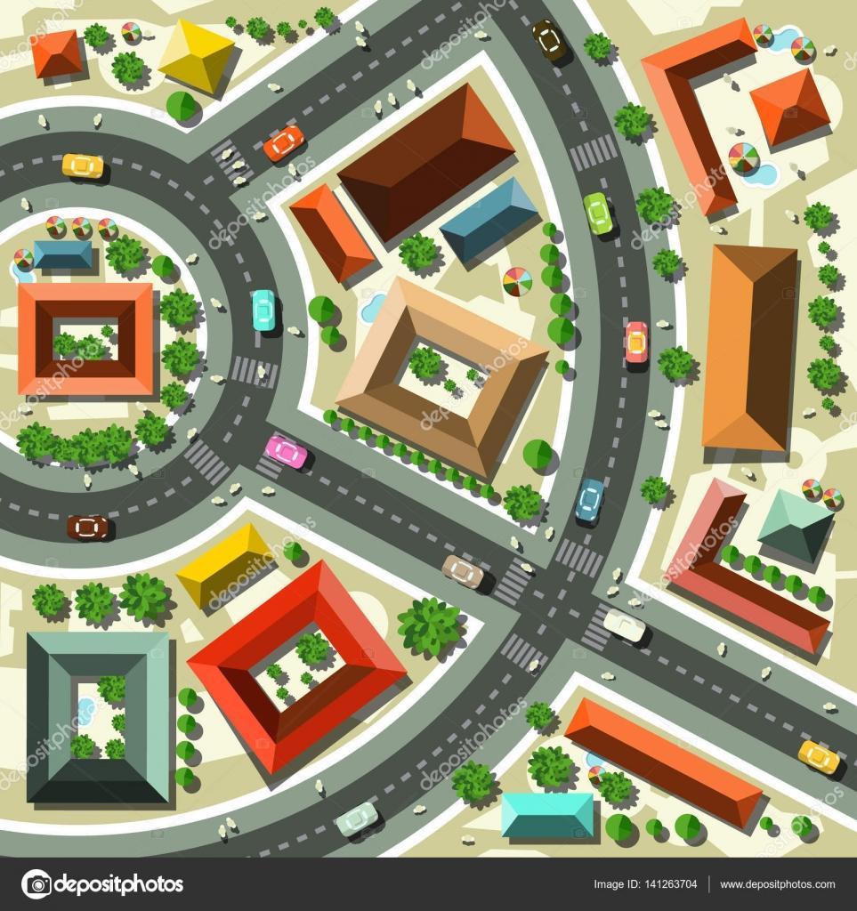Antenne Top View Flat Design Vector Abstract Stadt mit Straßen ...