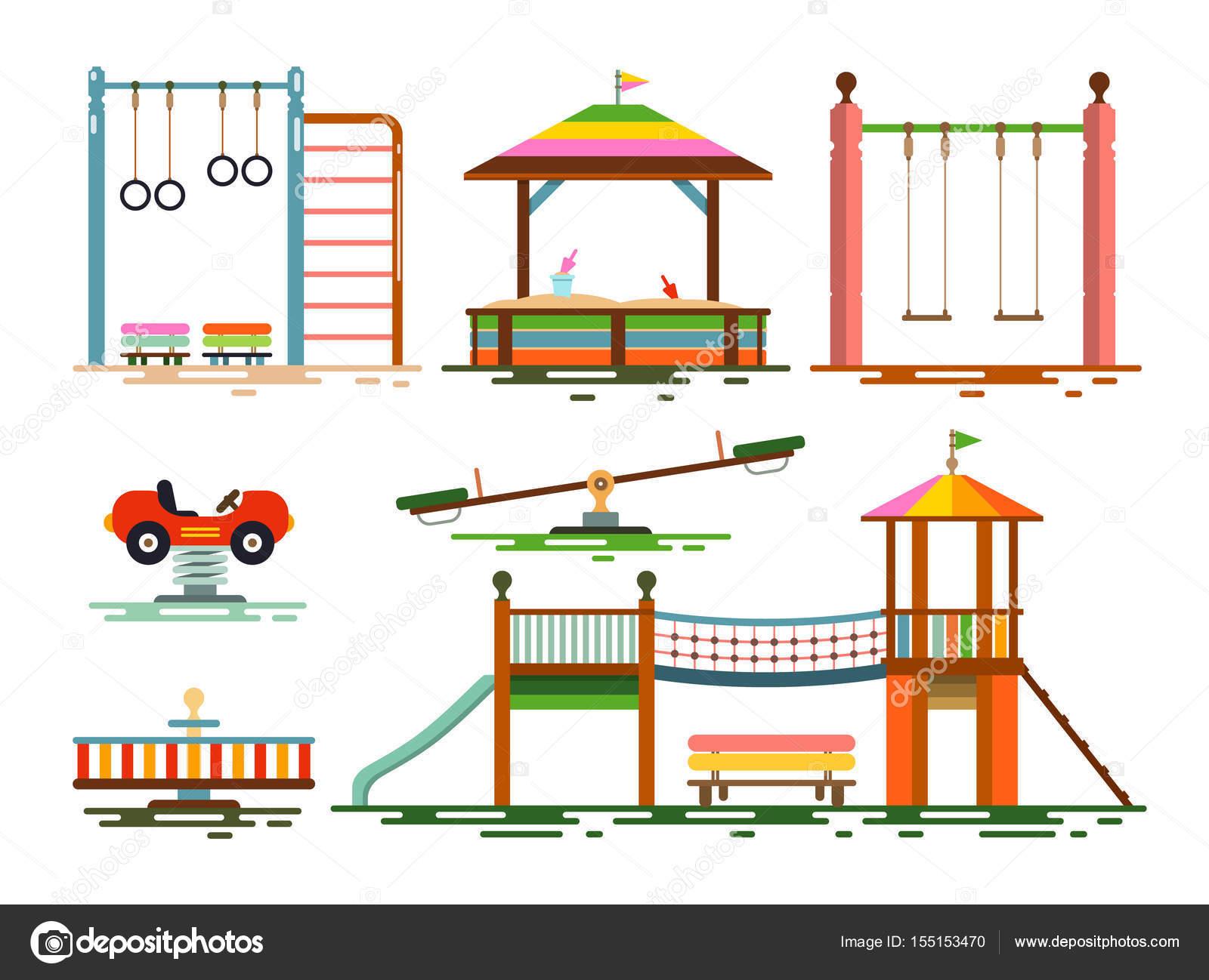 Vecteur icônes du Design plat aire de jeux pour les enfants — Image ...