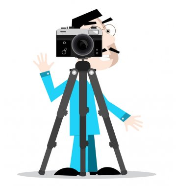 Photographer with Camera on Tripod Isolated on White Background. Vector Cartoon.
