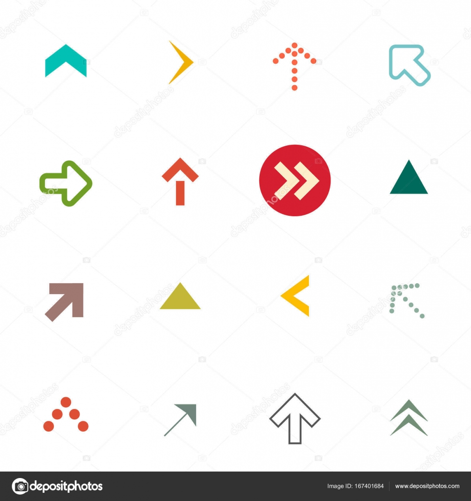 Flat Arrows Set Vector Arrow Symbols Isolated On White Background