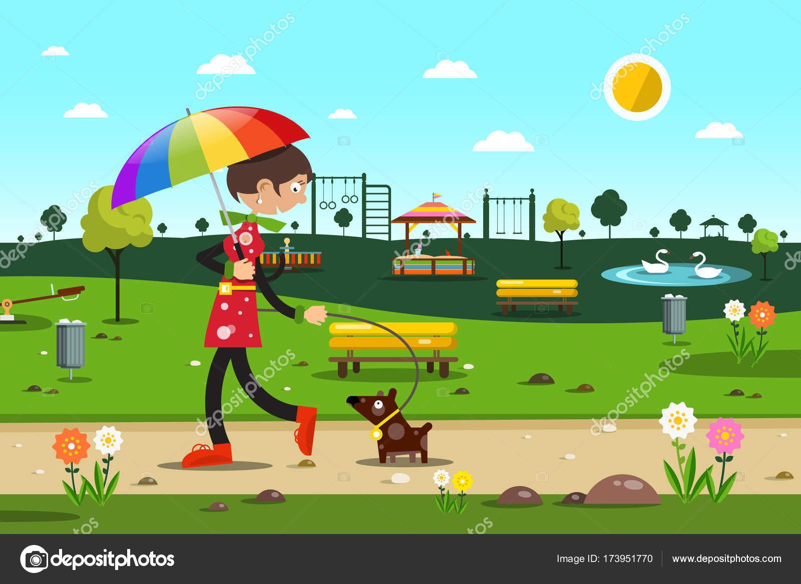 Mujer con perro en el parque de la ciudad - Vector ilustración de ...