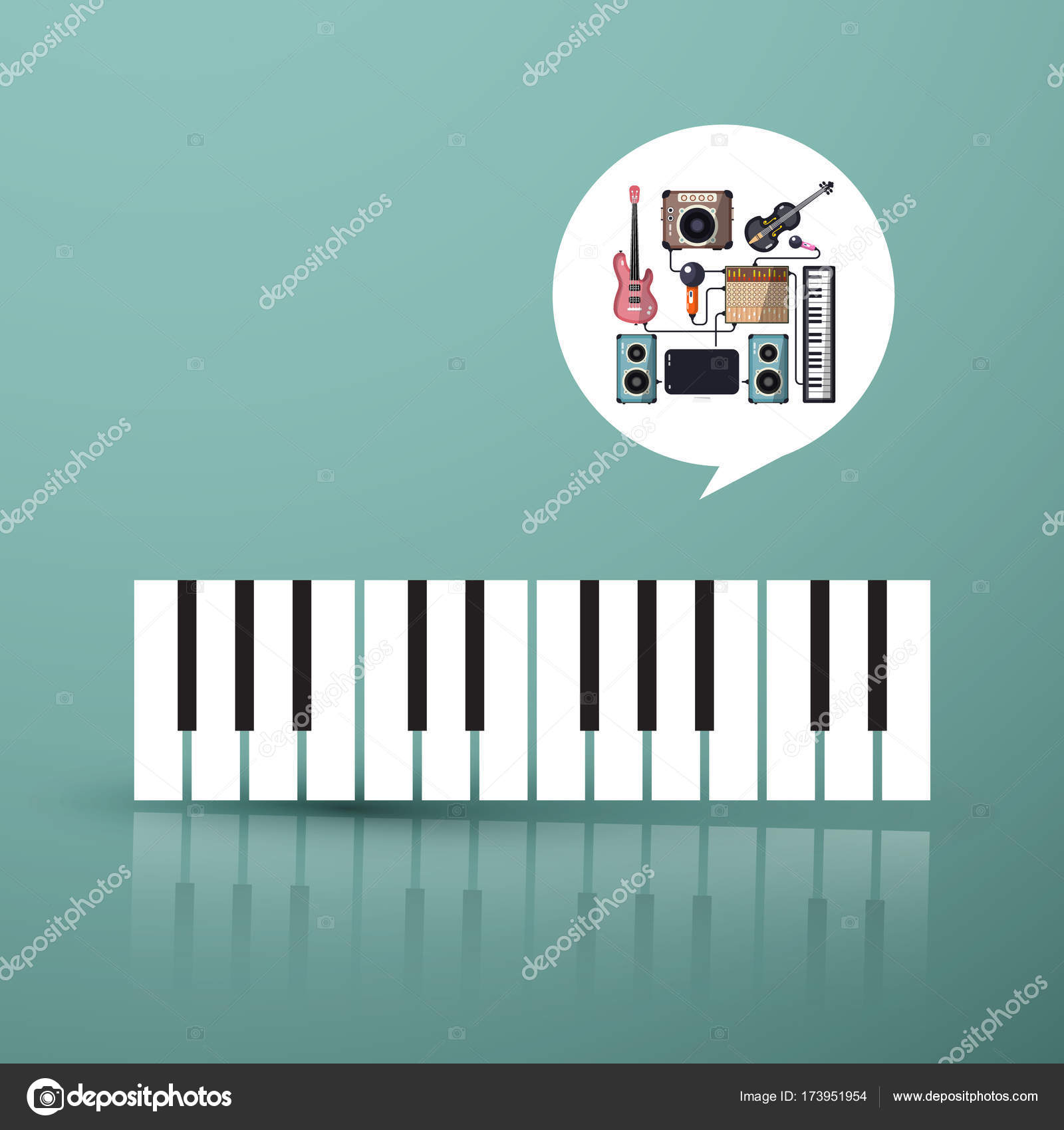 Music Symbol Piano Keyboard With Instruments In Bubble Stock