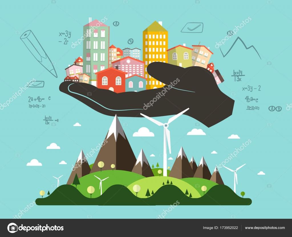 Resumen el paisaje con la mano del arquitecto lleno de edificios ...
