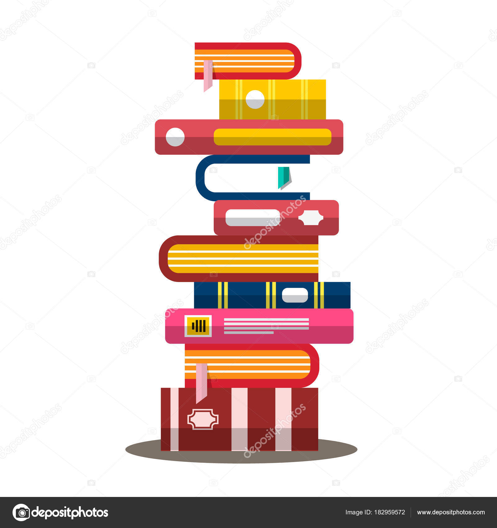 Book Vector Flat Design Heap Pile Of Books Vector