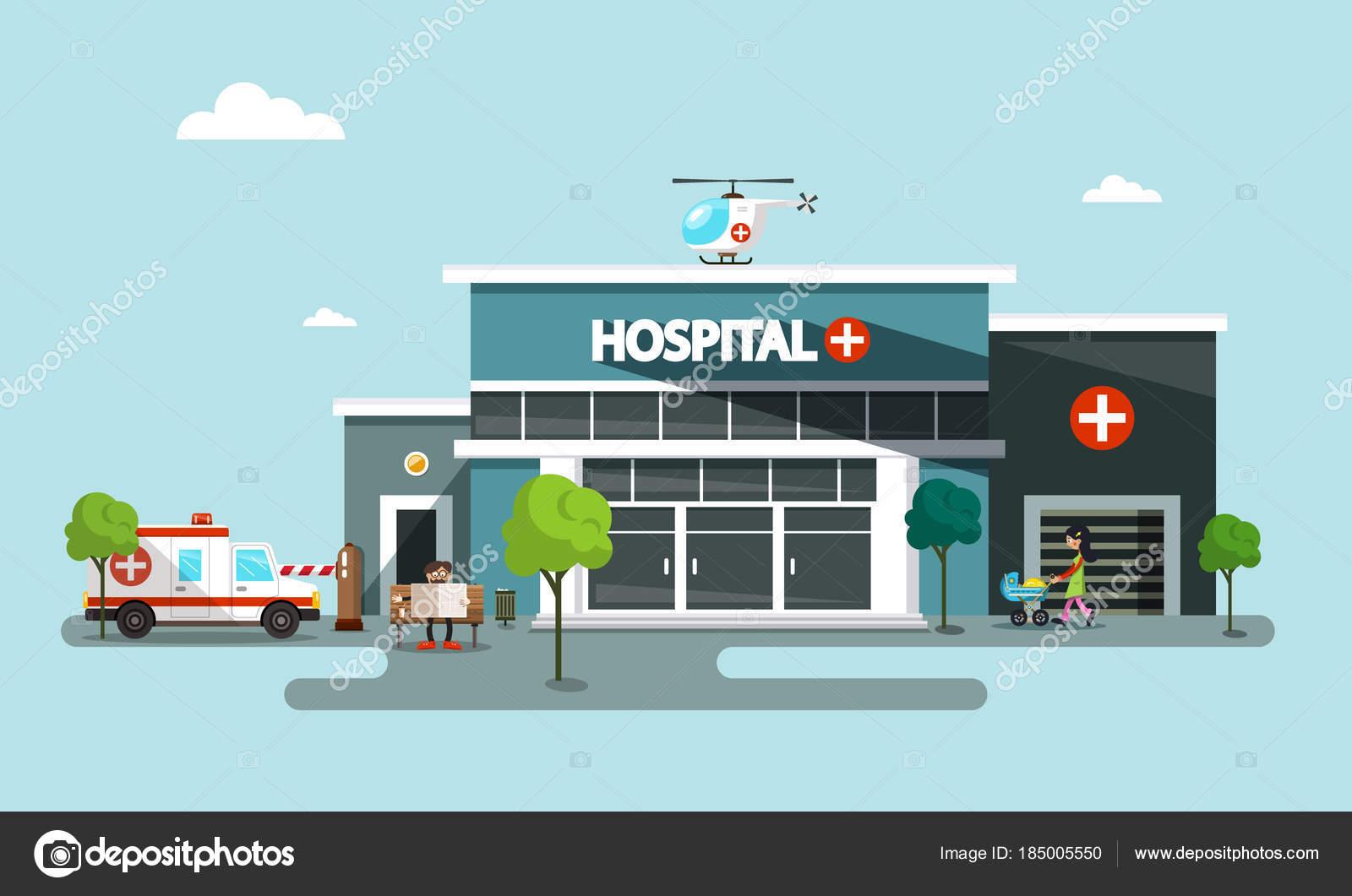 L Elicottero Posizione : Simbolo di vettore di ospedale con l elicottero auto ambulanza e